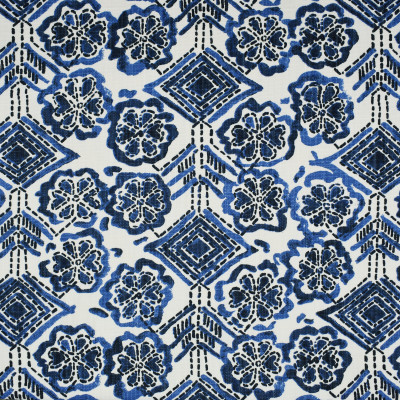 S1785 Sea Fabric: S15, GEOMETRIC, FLORAL, CONTEMPORARY, PRINT, BLUE AND WHITE, COBALT, NAVY, ANNA ELISABETH, BORDEAUX