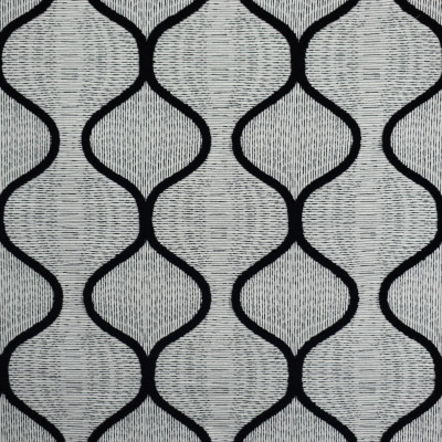 S1832 Domino Fabric: S17, ANNA ELISABETH, BLACK AND WHITE CONTEMPORARY, CONTEMPORARY EMBROIDERY, BLACK AND WHITE EMBROIDERY, BLACK AND WHITE TEXTURE, CONTEMPORARY TEXTURE