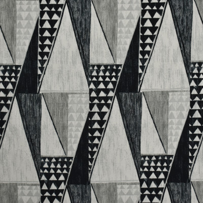 S1844 Ebony Fabric: S17, ANNA ELISABETH, GRAY AND BLACK GEOMETRIC PRINT, GRAY AND BLACK CONTEMPORARY PRINT, CONTEMPORARY GEOMETRIC PRINT