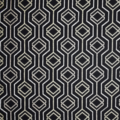 S1899 Black/Tan Fabric: S28, ANNA ELISABETH, FAUX LINEN EMBROIDERY, GEOMETRIC EMBROIDERY, MEDALLION EMBROIDERY, CONTEMPORARY EMBROIDERY, FAUX LINEN, BLACK, NFPA260, NFPA 260, WINDOW, DRAPERY