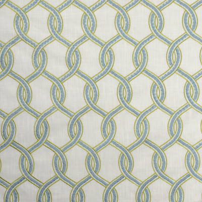 S1943 Caribe Fabric: S19, EMBROIDERY, ANNA ELISABETH, CONTEMPORARY EMBROIDERY, LATTICE EMBROIDERY, GREEN EMBROIDERY, CITRON, ICE BLUE EMBROIDERY