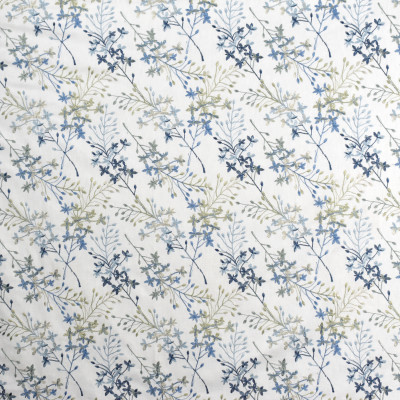 S1949 Waterfall Fabric: S19, ANNA ELISABETH, FLORAL EMBROIDERY, EMBROIDERY, FOLIAGE EMBROIDERY, BLUE EMBROIDERY