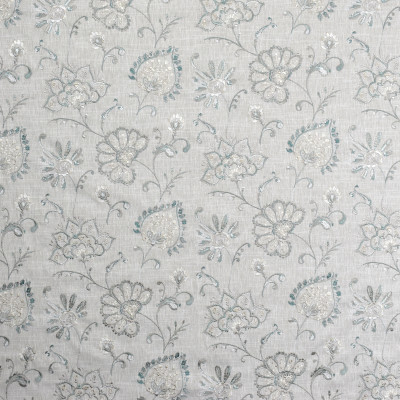 S1952 Rainfall Fabric: S19, ANNA ELISABETH, FLORAL EMBROIDERY, TEAL FLORAL EMBROIDERY, TEAL EMBROIDERY