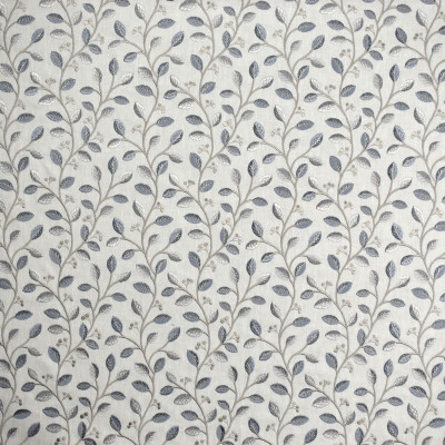 S1956 Porcelain Fabric: S19, ANNA ELISABETH, EMBROIDERY, FLORAL EMBROIDERY, FOLIAGE EMBROIDERY, BLUE EMBROIDERY, GRAY EMBROIDERY, GREY EMBROIDERY