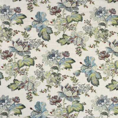 S2014 White Tea Fabric: S20, ANNA ELISABETH, PRINT, FLORAL PRINT, METALLIC PRINT, METALLIC FLORAL, BLUE PRINT, TEAL PRINT
