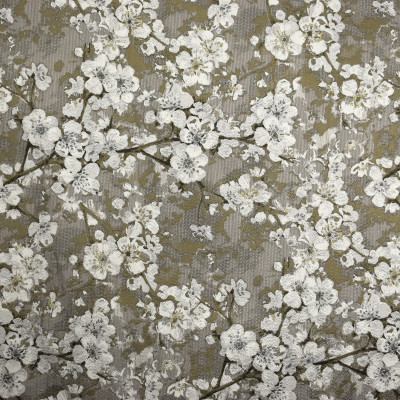S2042 Pewter Fabric: S21, FLORAL WOVEN, FLORAL, WOVEN, IVORY, BROWN, TAUPE, GOLD, ANNA ELISABETH