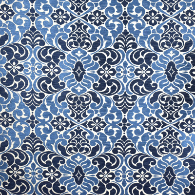 S2096 Indigo Fabric: S22, ANNA ELISABETH, ANNA, ELISABETH, WOVEN, BLUE, BLUE WOVEN, NEUTRAL, NEUTRAL WOVEN, SCROLL, MEDALLION, SCROLL MEDALLION, SCROLL MOTIF, BLUE SHIMMER, SHIMMER