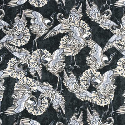 S2260 Ebony Fabric: S26, ANNA ELISABETH, CRYPTON, PERFORMANCE, CRYPTON FINISH, CRYPTON HOME, EASY TO CLEAN, ANTI-MICROBIAL, STAIN RESISTANT, ANIMAL, BIRD, NOVELTY, PRINT, BIRD PRINT, NOVELTY BIRD, BLACK PRINT, BIRDS