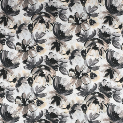 S2315 Ebony Fabric: S26, ANNA ELISABETH, CRYPTON, PERFORMANCE, CRYPTON FINISH, CRYPTON HOME, EASY TO CLEAN, ANTI-MICROBIAL, STAIN RESISTANT, FLORAL PRINT, BLACK FLORAL, BLACK FLORAL PRINT, FLORAL CRYPTON, CRYPTON PRINT, LARGE FLORAL PRINT