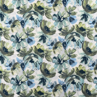 S2349 Leaf Fabric: S27, ANNA ELISABETH, CRYPTON, CRYPTON HOME, PERFORMANCE, KID FRIENDLY, PET FRIENDLY, ANTI-MICROBIAL, STAIN RESISTANT, EASY TO CLEAN, FLORAL PRINT, CRYPTON PRINT, GREEN, BLUE, MULTICOLOR PRINT, MULTICOLOR FLORAL, NFPA260, NFPA 260