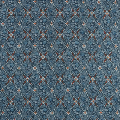 S2364 Indigo Fabric: S27, ANNA ELISABETH, CRYPTON, CRYPTON HOME, PERFORMANCE, KID FRIENDLY, PET FRIENDLY, ANTI-MICROBIAL, STAIN RESISTANT, EASY TO CLEAN, INDIGO, FLORAL PRINT, DIAMOND PRINT, CRYPTON PRINT, DIAMOND FLORAL, BLUE PRINT, ORANGE PRINT, NAVY, NFPA260, NFPA 260