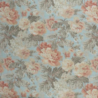 S2472 Nectar Fabric: S31, ANNA ELISABETH, FLORAL PRINT, CORAL FLORAL, SALMON FLORAL, FAUX LINEN PRINT, CORAL FAUX LINEN