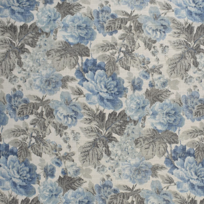 S2491 Chambray Fabric: S31, ANNA ELISABETH, FLORAL PRINT, BLUE FLORAL, FLORAL, FAUX LINEN PRINT, BLUE FAUX LINEN