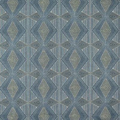 S2501 Caspian Fabric: S31, ANNA ELISABETH, GEOMETRIC EMBROIDERY, EMBROIDERY, BLUE GEOMETRIC, BLUE EMBROIDERY, ALL OVER EMBROIDERY, WINDOW, DRAPERY