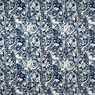 S2503 Cerulean Fabric: S31, ANNA ELISABETH, 100% COTTON, COTTON PRINT, TILE, TILE PRINT, MEDALLION PRINT, TEAL MEDALLION, BLUE MEDALLION, WINDOW, DRAPERY
