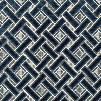 S2505 Indigo Fabric: S31, ANNA ELISABETH, GEOMETRIC VELVET, CUT VELVET, BLUE VELVET, BLUE GEOMETRIC, CONTEMPORARY VELVET, LATTICE VELVET, LATTICE CUT VELVET, LATTICE