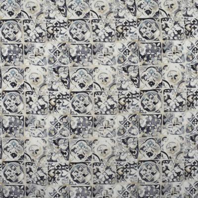 S2564 Smoke Fabric: S32, ANNA ELISABETH, COTTON PRINT, 100% COTTON, TILE PRINT, MEDALLION PRINT, TILE, GRAY PRINT, GREY PRINT, BLUE PRINT, GRAY MEDALLION, GREY MEDALLION, BLUE MEDALLION, WINDOW, DRAPERY
