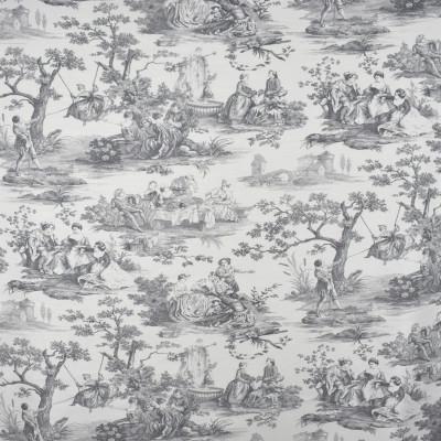 S2575 Pewter Fabric: S32, ANNA ELISABETH, COTTON PRINT, 100% COTTON, COTTON TOILE, GRAY, GREY, GRAY TOILE, ASIAN, ASIAN TOILE, GRAY ASIAN, ASIAN PRINT, WINDOW, DRAPERY