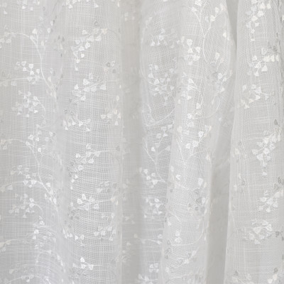 S2602 Snow Fabric: S33, WINDOW, ANNA ELISABETH, DRAPERY, WHITE FLORAL, WHITE, WHITE WINDOW, FLORAL EMBROIDERY, FLORAL WINDOW, EMBROIDERY