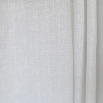 S2604 Snow Fabric: S33, WINDOW, ANNA ELISABETH, DRAPERY, WHITE, WHITE WINDOW, WHITE PLAID, WINDOW PLAID, WHITE FAUX LINEN, FAUX LINEN, PLAID FAUX LINEN, PLAID WINDOW