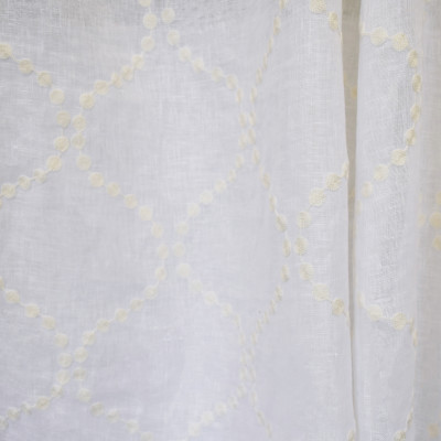 S2611 Winter White Fabric: S33, WINDOW, ANNA ELISABETH, DRAPERY, OGEE EMBROIDERY, WHITE OGEE, LINEN, 100% LINEN, WHITE LINEN, GEOMETRIC EMBROIDERY, WHITE GEOMETRIC, OGEE, WHITE WINDOW