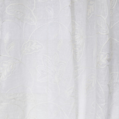 S2620 Snow Fabric: S33, WINDOW, ANNA ELISABETH, DRAPERY, WHITE FLORAL, WHITE, WHITE WINDOW, FLORAL EMBROIDERY, FLORAL WINDOW, EMBROIDERY, LINEN, 100% LINEN, LINEN FLORAL, LINEN EMBROIDERY