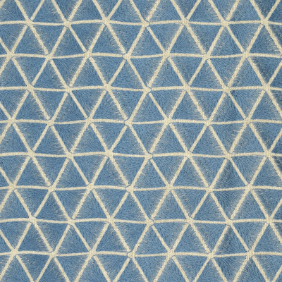 S2651 Ceramic Fabric: S34, WINDOW, ANNA ELISABETH, DRAPERY, EMBROIDERY, GEOMETRIC, GEOMETRIC EMBROIDERY, TRIANGLES, BLUE, BLUE EMBROIDERY, BLUE GEOMETRIC