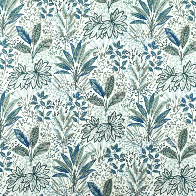 S2678 Lagoon Fabric: S34, WINDOW, ANNA ELISABETH, DRAPERY, EMBROIDERY, TROPICAL, TROPICAL EMBROIDERY, FLORAL, FLORAL EMBROIDERY, FOLIAGE, FOLIAGE EMBROIDERY, BLUE EMBROIDERY, TROPICAL BLUE, BLUE FLORAL, BLUE FOLIAGE, TROPICAL TEAL, TEAL FLORAL, TEAL FOLIAGE, BLUE, TEAL