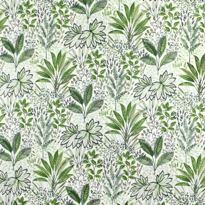 S2679 Fern Fabric: M03, S34, WINDOW, ANNA ELISABETH, DRAPERY, EMBROIDERY, TROPICAL, TROPICAL EMBROIDERY, FLORAL, FLORAL EMBROIDERY, FOLIAGE, FOLIAGE EMBROIDERY, GREEN EMBROIDERY, TROPICAL GREEN, GREEN FLORAL, GREEN FOLIAGE, GREEN