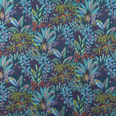 S2680 Multi Fabric: S34, WINDOW, ANNA ELISABETH, DRAPERY, EMBROIDERY, TROPICAL, TROPICAL EMBROIDERY, FLORAL, FOLIAGE, BLUE EMBROIDERY, TROPICAL BLUE, BLUE FLORAL, BLUE FOLIAGE, TROPICAL TEAL, TEAL FLORAL, TEAL FOLIAGE, PURPLE FLORAL, PURPLE FOLIAGE, TROPICAL PURPLE, BLUE, TEAL, PURPLE, MULTI, MULTICOLOR