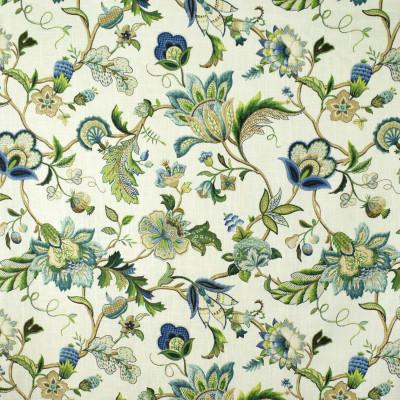 S2690 Sapphire Fabric: S35, ANNA ELISABETH, LARGE PRINT, LARGE SCALE, PRINT, FAUX LINEN, FAUX LINEN PRINT, FLORAL PRINT, BLUE FLORAL, GREEN FLORAL, JACOBEAN, JACOBEAN FLORAL