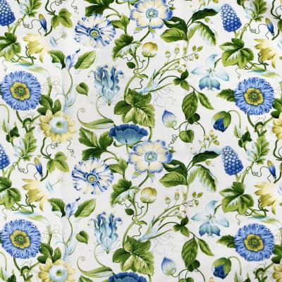 S2691 Bluegreen Fabric: S35, ANNA ELISABETH, LARGE PRINT, LARGE SCALE, PRINT, COTTON, COTTON PRINT, 100% COTTON, BLUE FLORAL, GREEN FLORAL, COTTON FLORAL, FLORAL PRINT
