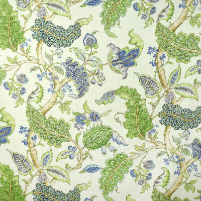 S2692 Periwinkle Fabric: S35, ANNA ELISABETH, LARGE PRINT, LARGE SCALE, PRINT, FAUX LINEN, FAUX LINEN PRINT, BLUE FLORAL, GREEN FLORAL, FLORAL PRINT, BLUE FOLIAGE, GREEN FOLIAGE, FOLIAGE PRINT, PERIWINKLE
