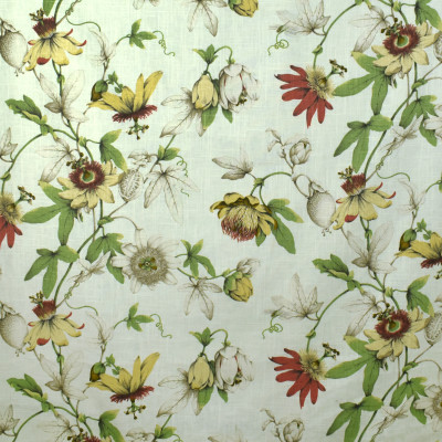 S2694 White Tea Fabric: S35, ANNA ELISABETH, LARGE PRINT, LARGE SCALE, PRINT, FAUX LINEN, FAUX LINEN PRINT, FLORAL PRINT, RED FLORAL, YELLOW FLORAL, DRAGONFLY