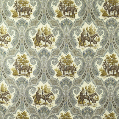 S2696 Putty Fabric: S35, ANNA ELISABETH, PRINT, COTTON, COTTON PRINT, 100% COTTON, NOVELTY PRINT, BROWN PRINT, BLUE PRINT, HORSE, HORSES, HORSE PRINT, TRADITIONAL PRINT, ANIMAL