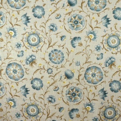 S2699 Stone Fabric: S35, ANNA ELISABETH, LARGE PRINT, LARGE SCALE, PRINT, FAUX LINEN, FAUX LINEN PRINT, FLORAL PRINT, BLUE FLORAL, BLUE AND BROWN FLORAL
