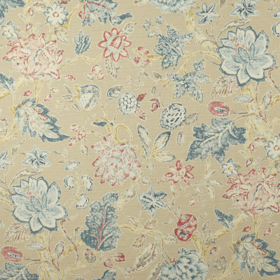 S2700 Biscuit Fabric: S35, ANNA ELISABETH, LARGE PRINT, LARGE SCALE, PRINT, COTTON, COTTON PRINT, 100% COTTON, COTTON FLORAL, FLORAL PRINT, BLUE FLORAL, PINK FLORAL