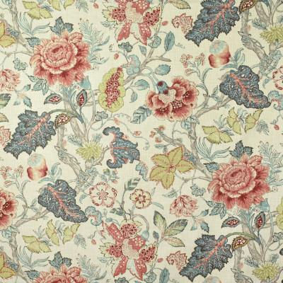 S2701 Blue Spruce Fabric: S35, ANNA ELISABETH, LARGE PRINT, LARGE SCALE, FLORAL PRINT, BLUE FLORAL, PINK FLORAL, GREEN FLORAL, JACOBEAN, JACOBEAN FLORAL