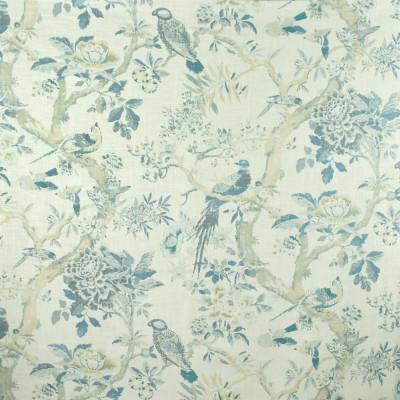 S2705 Marina Fabric: S35, ANNA ELISABETH, LARGE PRINT, LARGE SCALE, PRINT, FAUX LINEN, FAUX LINEN PRINT, FLORAL PRINT, ANIMAL PRINT, BIRD, NOVELTY PRINT, BLUE BIRD