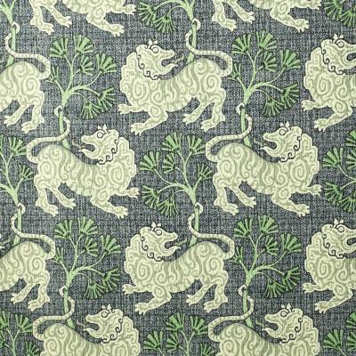 S2706 Indigo Fabric: S35, ANNA ELISABETH, PRINT, COTTON, COTTON PRINT, 100% COTTON, NOVELTY PRINT, ANIMAL PRINT, BLUE PRINT, LION, BLUE LION, GREEN PRINT, LION PRINT, NOVELTY