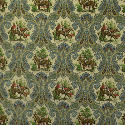 S2709 Royal Fabric: S35, ANNA ELISABETH, PRINT, COTTON, COTTON PRINT, 100% COTTON, NOVELTY PRINT, BROWN PRINT, BLUE PRINT, HORSE, HORSES, HORSE PRINT, TRADITIONAL PRINT, ANIMAL