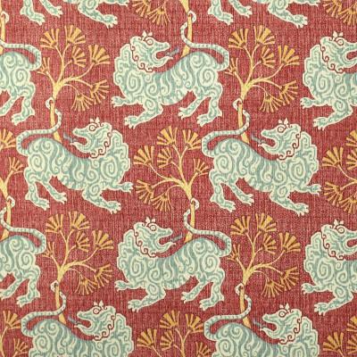 S2719 Rouge Fabric: S35, ANNA ELISABETH, PRINT, COTTON, COTTON PRINT, 100% COTTON, NOVELTY PRINT, ANIMAL PRINT, BLUE PRINT, LION, BLUE LION, RED PRINT, LION PRINT, NOVELTY, RED LION