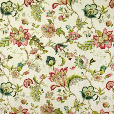 S2720 Jewel Fabric: S35, ANNA ELISABETH, LARGE PRINT, LARGE SCALE, PRINT, FAUX LINEN, FAUX LINEN PRINT, PINK FLORAL, BLUE FLORAL, FLORAL PRINT, JACOBEAN, JACOBEAN PRINT