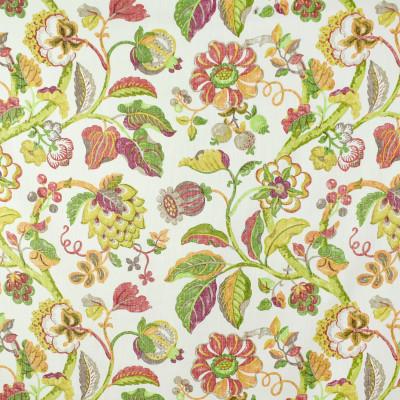 S2727 Papaya Fabric: S35, ANNA ELISABETH, LARGE PRINT, LARGE SCALE, PRINT, FAUX LINEN, FAUX LINEN PRINT, PINK FLORAL, ORANGE FLORAL, FLORAL PRINT, JACOBEAN, JACOBEAN PRINT, YELLOW FLORAL