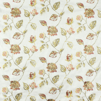 S2834 Sunset Fabric: S38, ANNA ELISABETH, NFPA260, NFPA 260, FLORAL, EMBROIDERY, PINK, RED, ORANGE, PINK FLORAL, RED FLORAL, ORANGE FLORAL, FLORAL EMBROIDERY, MULTI, WINDOW