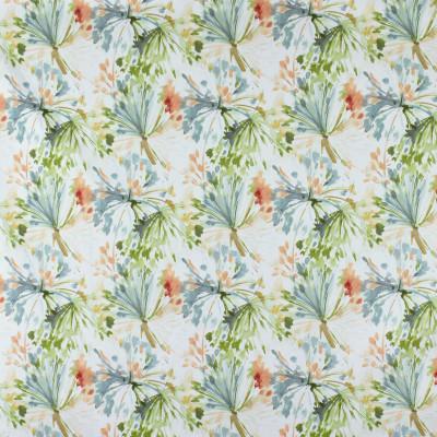 S2839 Peach Frost Fabric: S38, ANNA ELISABETH, NFPA260, NFPA 260, 100% COTTON, COTTON, WATERCOLOR PRINT, COTTON PRINT, FLORAL PRINT, FLORAL, FOLIAGE, FOLIAGE PRINT, ORANGE, GREEN, BLUE, MULTI