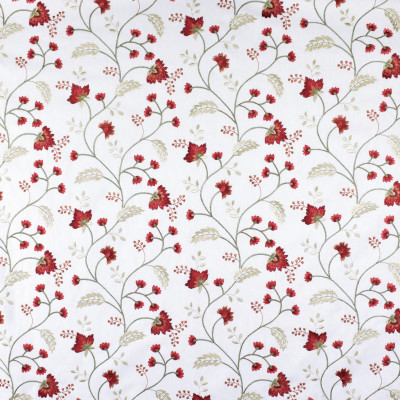 S2841 Bouquet Fabric: S38, ANNA ELISABETH, NFPA260, NFPA 260, FLORAL, EMBROIDERY, RED, RED FLORAL, RED EMBROIDERY, FLORAL EMBROIDERY