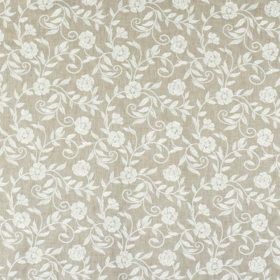S2887 Linen Fabric: S39, ANNA ELISABETH, NFPA260, NFPA 260, FLORAL, EMBROIDERY, NEUTRAL, NEUTRAL FLORAL, NEUTRAL EMBROIDERY, FLORAL EMBROIDERY