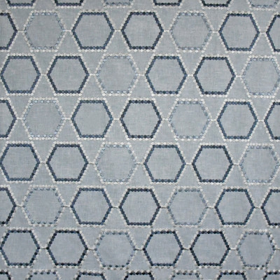 S3127 Waterfall Fabric: M03, MEDALLION, OGEE, GEOMETRIC, EMBROIDERY, WINDOW, BLUE