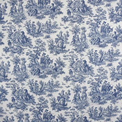 S3130 Indigo Fabric: M03, TOILE, ASIAN, PRINT, COTTON, 100% COTTON, COTTON PRINT, MADE IN USA, BLUE, INDIGO